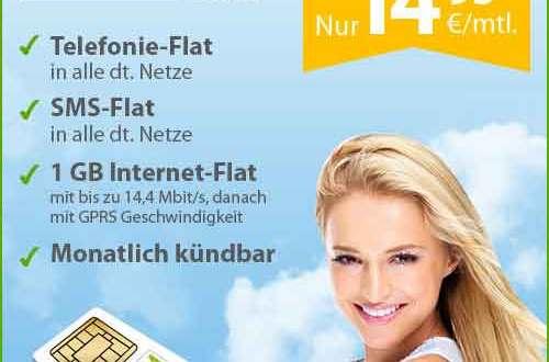 Allnet-Flat SMS-Flat 1 GB Daten 14.95€ mtl