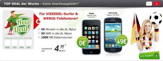 S3 mini + 50 Min + 50 SMS + 1GB Internet 4.99€ mtl