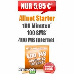400 MB Internet+ 100 Min+ 100 SMS nur 5,95€ mtl