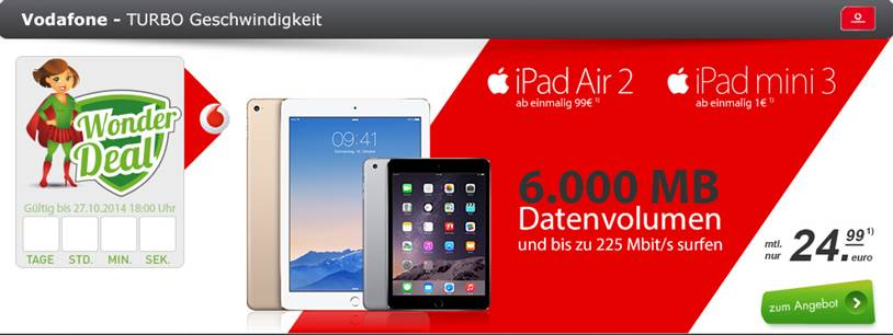iPad mini3 + Vodafone 6 GB Datenflat 24.99€ mtl