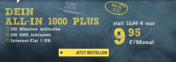 All-in 1000 (250Min/SMS) + 1 GB Internet 9.95 Euro