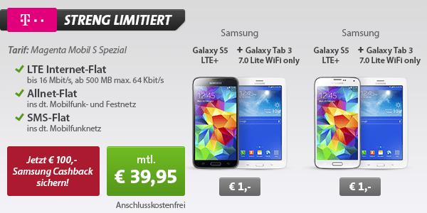Telekom Bundle: Galaxy S5 LTE + Tab3 + 100 Euro