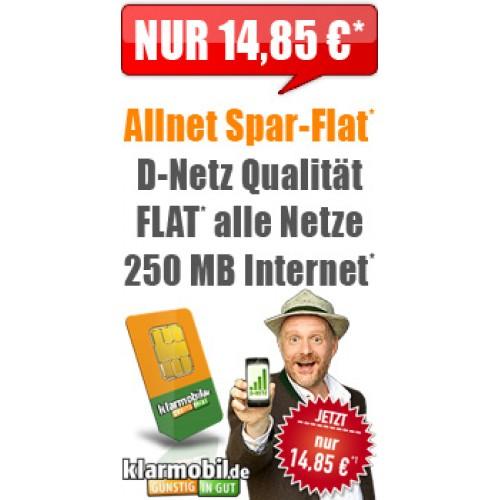 Klarmobil Allnet-Spar-Flat 14.85€ mtl. Aktion
