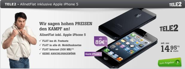 Tele2 Allnet Flat Smart + iPhone 5 nur 14.95€ mtl.