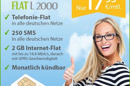 Allnet-Flat Tarif mit 2 GB Internet nur 17.95 Euro mtl