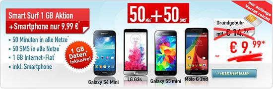 50 Min/SMS + 1GB Daten + Smartphone nur 9.99€ mtl