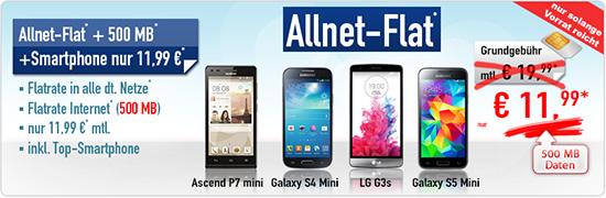 Allnet-Flat Aktion + Smartphone nur 11.99€ mtl