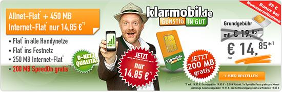 Klarmobil Allnet-Spar-Flat + SpeedOn 14.85€ mtl