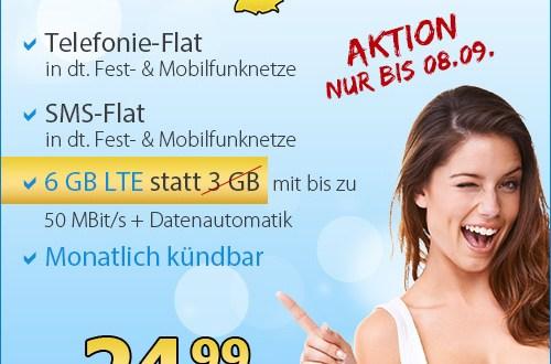 6 GB LTE inkl. Allnet Flat - ohne Laufzeit! - nur 24.99 Euro mtl.