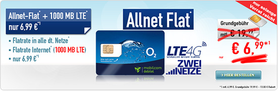 comfort Allnet Flat 1 GB LTE 6.99 Aktion