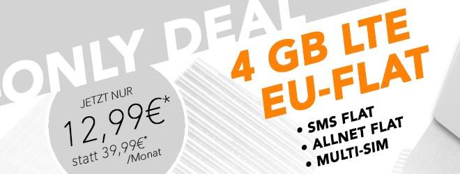 4000 MB + Allnet Flat + EU Flat nur 12,99 Euro monatlich