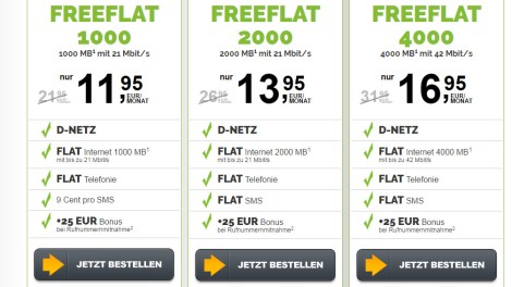 Allnet Flat im D Netz mit 4 GB -ohne Laufzeit- nur 16,99€ mtl.