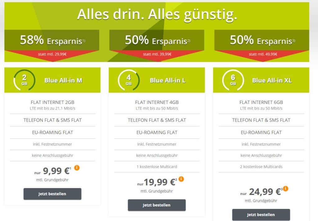 Blue All in XL + 6 GB LTE + Allnet + EU nur 24.99€ mtl.