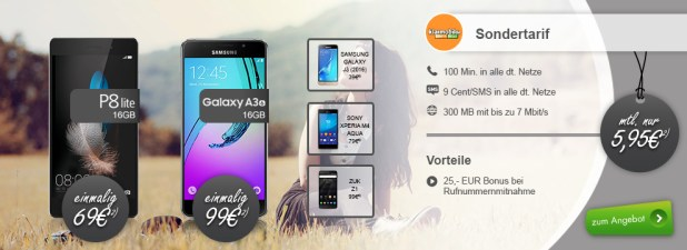 Huawei P8 Lite + 100 Min + 300 MB nur 5,95€ mtl.