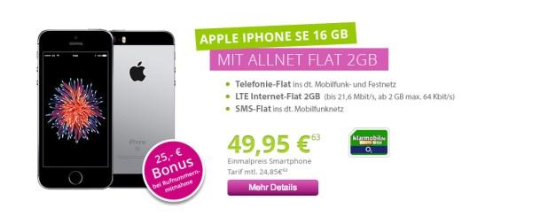 iPhone SE + 2GB LTE + Allnet + SMS nur 24,85€ mtl.