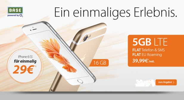 5000 MB LTE+ Allnet+ SMS+ EU Roaming+ iPhone 6s nur 39,99€ mtl.