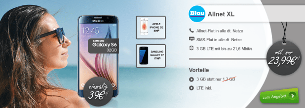 Galaxy S6 32GB + Allnet + SMS + 3GB LTE nur 23,99€ mtl.