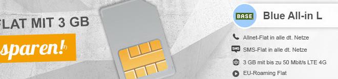 Internet 3GB + Allnet + SMS + EU + Festnetznummer nur 12,91€ mtl.