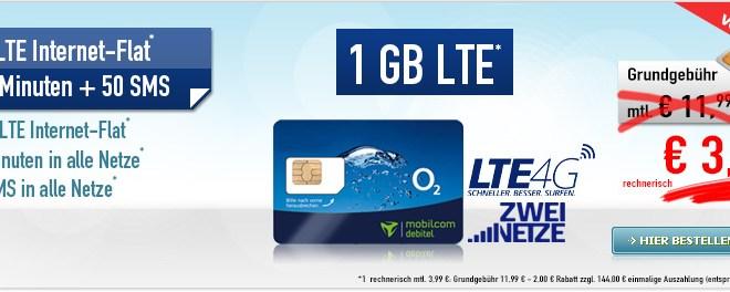 Smart Surf LTE 1 GB + 50 Min + 50 SMS nur 3,99€ mtl.
