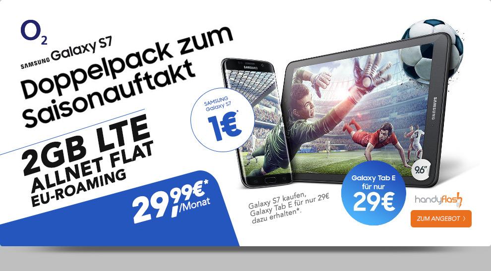 o2 Blue All-in M 2000 MB + Samsung S7 + Tab E + Allnet + EU nur 29,99€ mtl