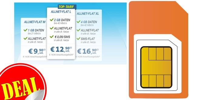2GB + Allnet Flat im Telekom Netz für nur 12,90€ mtl.