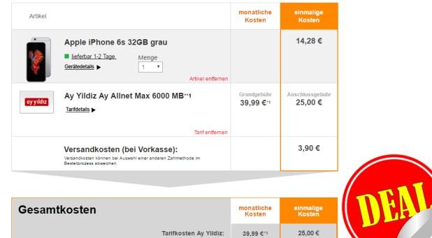 Ay Yildiz Allnet Max 6000 MB + Türkei Flat + iPhone 6s nur 39,99€ mtl.