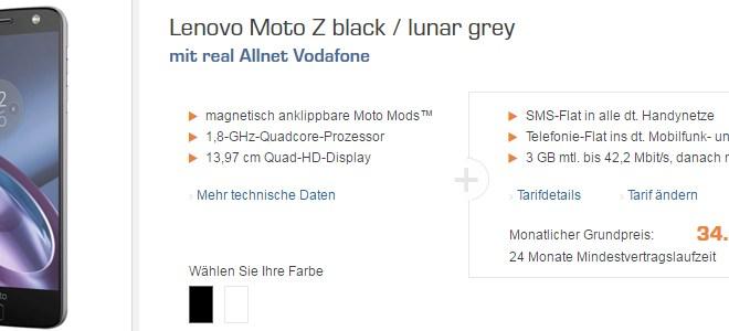 Lenovo Moto Z + Allnet + 3GB nur 34,99€ mtl.