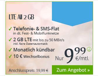 2GB LTE + Allnet + SMS + monatlich kündbar nur 9,99€ mtl.