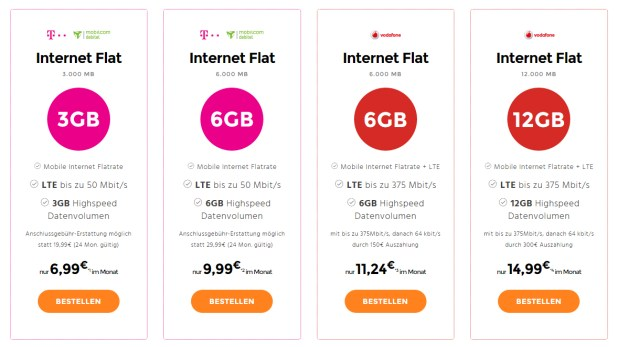Mobiles Internet mit 3GB bis 12 GB ab 6,99€ mtl.