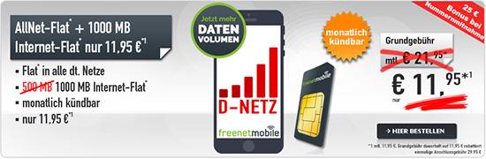 Allnet Flat im D Netz mit 1GB+ monatlich kündbar nur 11,95€ mtl.