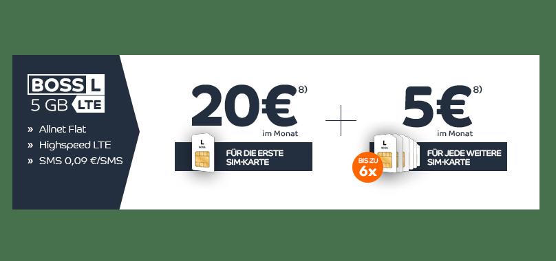 3 SIM Karten mit je 5GB LTE + Allnet Flat nur 30€ mtl.
