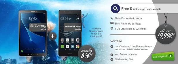 o2 Free Tarife mit Smartphone bis 8GB LTE und ab 19,99€ mtl.