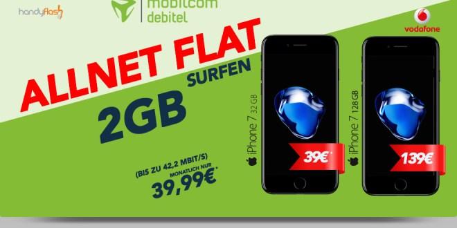Apple iPhone 7 + Vodafone comfort Allnet 2GB nur 39,99€ mtl.