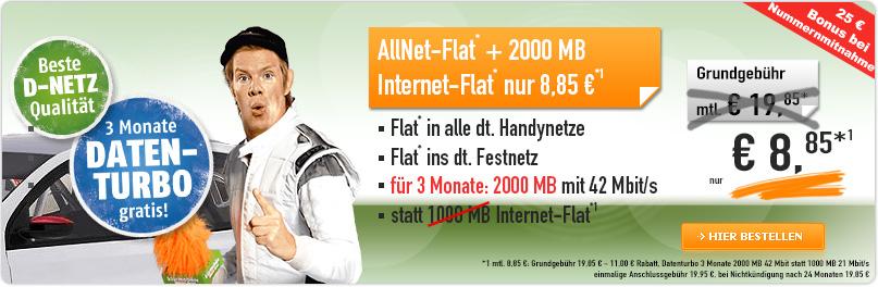 Klarmobil AllNet Flat Telekom Netz nur 8,85€ mtl.