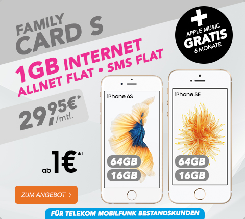 iPhone 6s + Telekom Family Card S nur 29,95€ mtl.