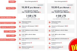 3 GB LTE + Allnet + SMS + Multicard + Festnetznummer + EU Roaming + Zugabe