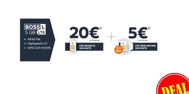 7 SIM Karten mit je 5GB LTE + Allnet Flat nur 50€ mtl. + 50€ Auszahlung