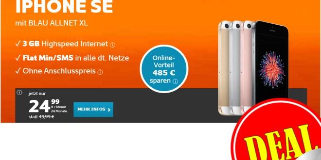 Apple iPhone SE + Allnet + 3GB nur 24,99€ mtl.