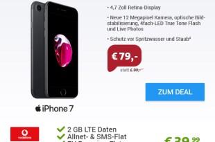 iPhone 7 + Vodafone Smart L Classic nur 39,99€ mtl.