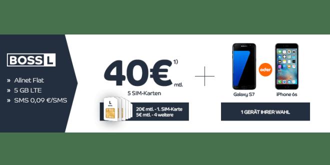 5 SIM Karten mit je 5 GB LTE + Allnet-Flat + iPhone 6s nur 40,-€ mtl.