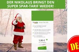 NIKOLAUS Deal! 100 Min/SMS + 500 MB Internet nur 1,95€ mtl.