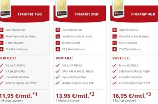 Allnet Flat im D-Netz mit bis zu 4GB und monatlich kündbar ab 11,95€ mtl.