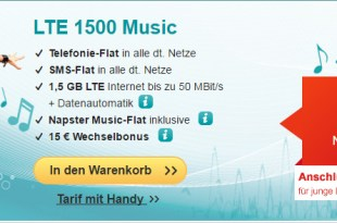 LTE Tarife mit Napster Music-Flat ab 14,99€ mtl.