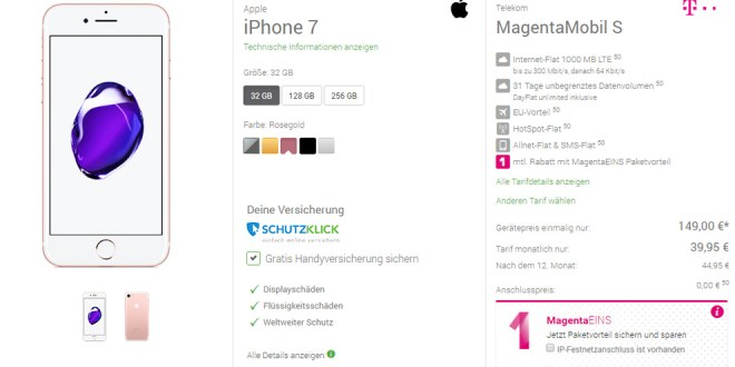 Telekom MagentaMobil S + iPhone 7 nur 39,95€ mtl.