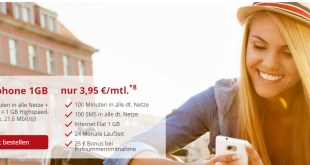 Internet Flat 1 GB + 100Min + 100SMS nur 3,95€ mtl.