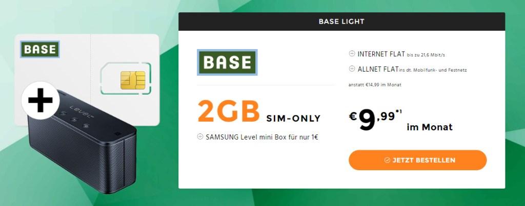 2GB LTE + Allnet Flat + SAMSUNG Level mini Box nur 9,99€ mtl.