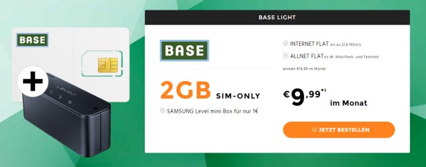 2GB LTE + Allnet Flat + SAMSUNG Level mini Box nur 9,99€ mtl.