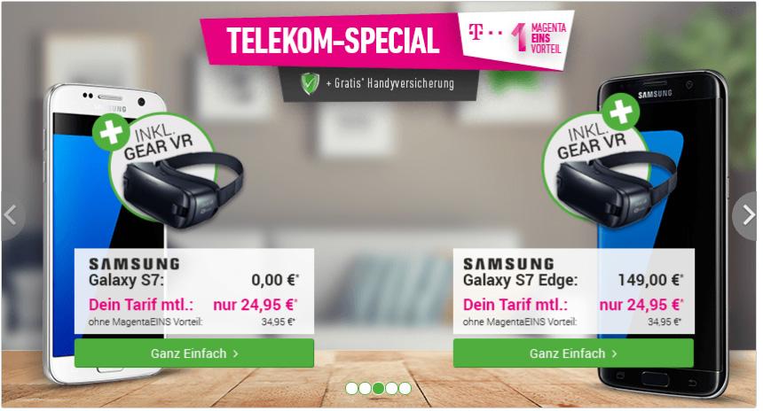 Telekom MagentaMobil XS + Galaxy S7 Edge + Gear VR 2 nur 34,95€ mtl.