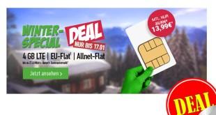 4GB LTE + Allnet Flat + EU Roaming nur 13,99€ mtl.