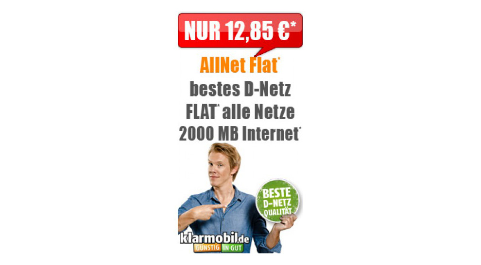 klarmobil allnet flat 2gb telekom netz mtl. Black Bedroom Furniture Sets. Home Design Ideas